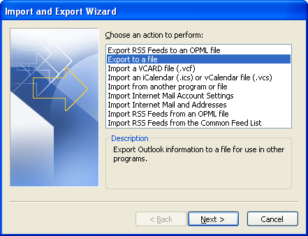 Select export to a file option