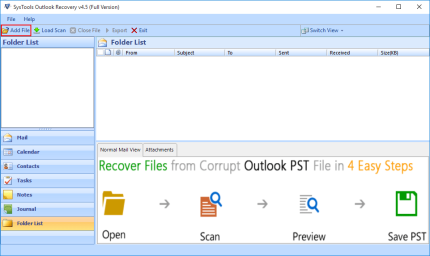 Add PST File in Outlook Recovery